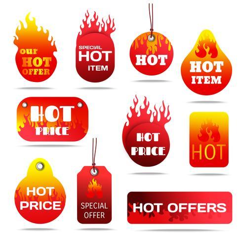 Conjunto de rótulos de venda quente