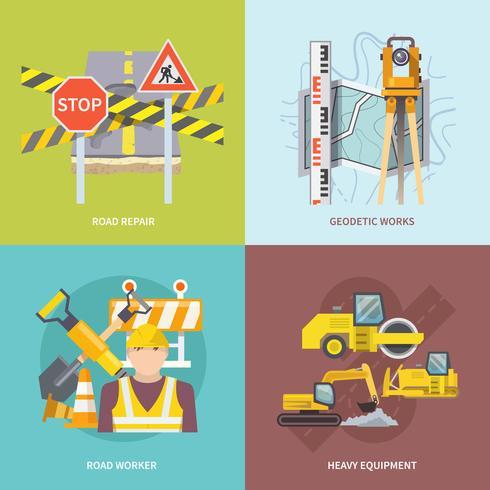 trabajador de la carretera plana vector