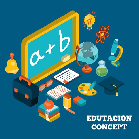 Education Isometric Concept vector