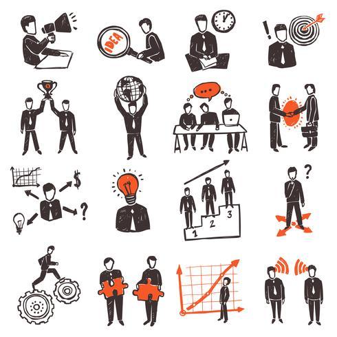 Reunião, pessoas, ícone, jogo vetor