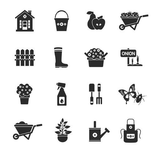 Conjunto de ícones pretos de jardinagem