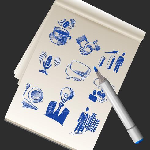 Sketchbook com rabiscos de negócios