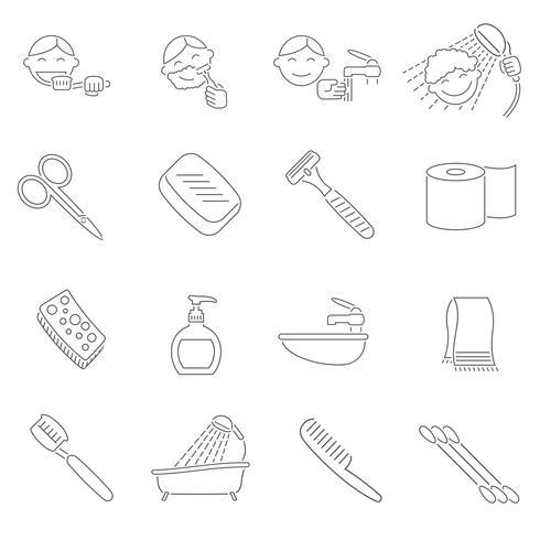 Contorno de ícones de higiene