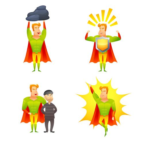 Conjunto de iconos de poder de personaje de dibujos animados de superhéroes vector