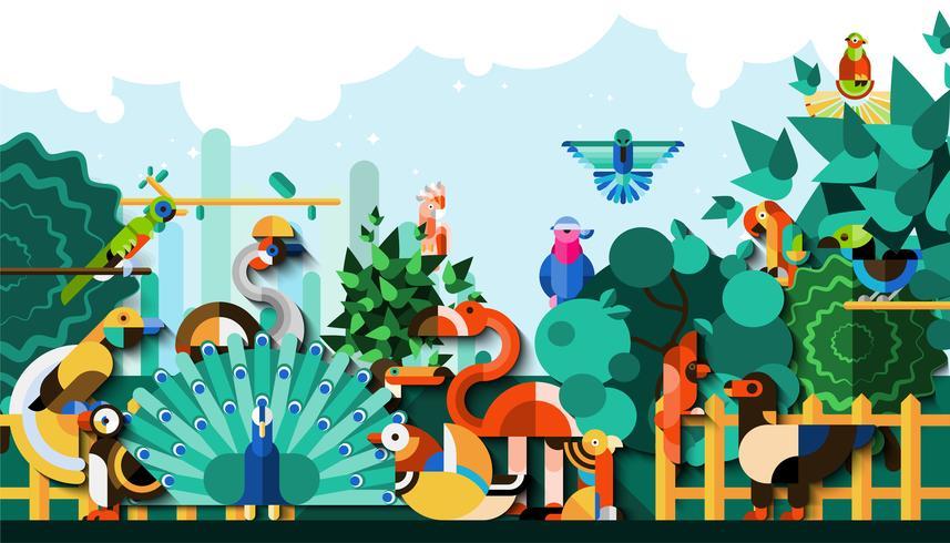 Fundo de aves exóticas