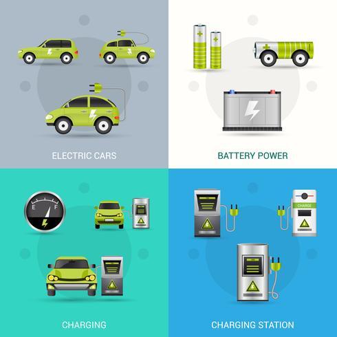 Conjunto de coche eléctrico vector