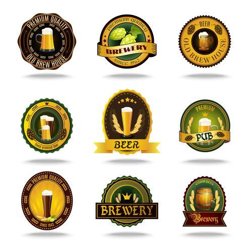 Beer old labels icons color set