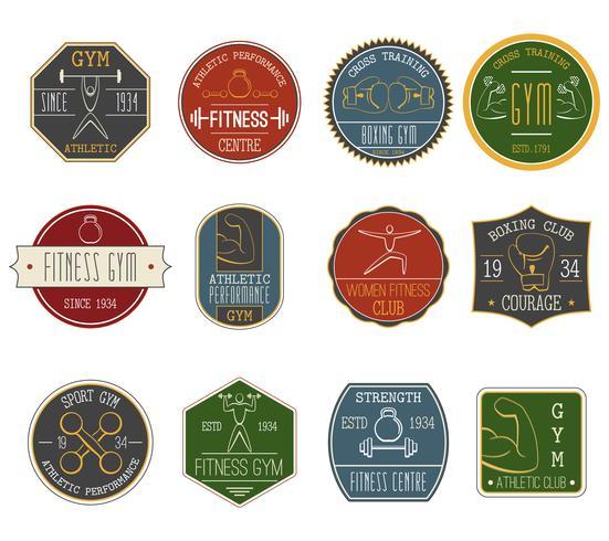 Fitness vintage labels set