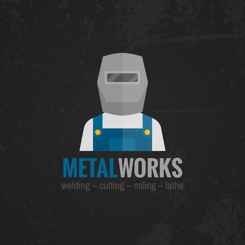 Poster di icona di lavorazione dei metalli piatta