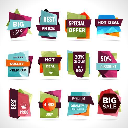 Étiquettes de vente d'origami vecteur