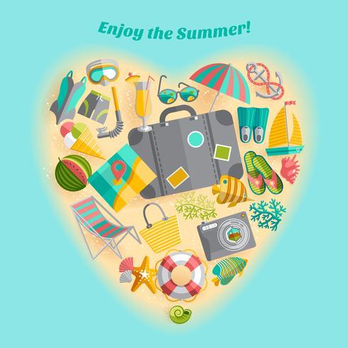 Sommar semester hjärta komposition ikonaffisch vektor