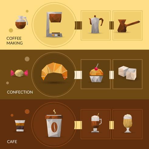 Poligonal Coffee And Confectionery Banner vector
