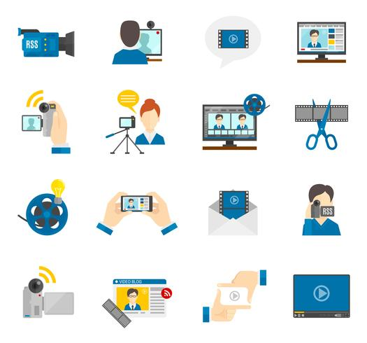 Flat Icon Video Blog vector