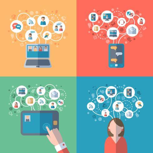 Internet en sociale netwerken concept vector