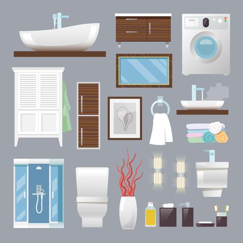 Muebles de baño planos vector