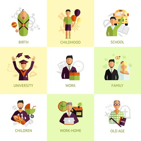 Estágios de vida humana conjunto de ícones planas
