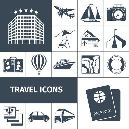 Reizen iconen zwarte set