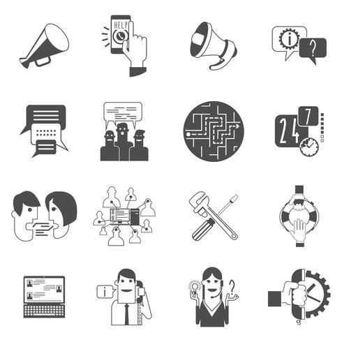 Icônes de concept de forums Internet définies en noir