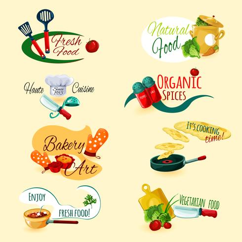 Conjunto de emblemas de cozinha