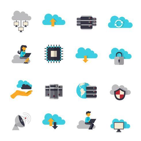 Conjunto de iconos planos de computación en la nube vector