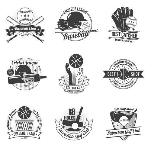 Esporte Label Set vetor