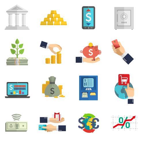 Conjunto de ícones do sistema bancário vetor