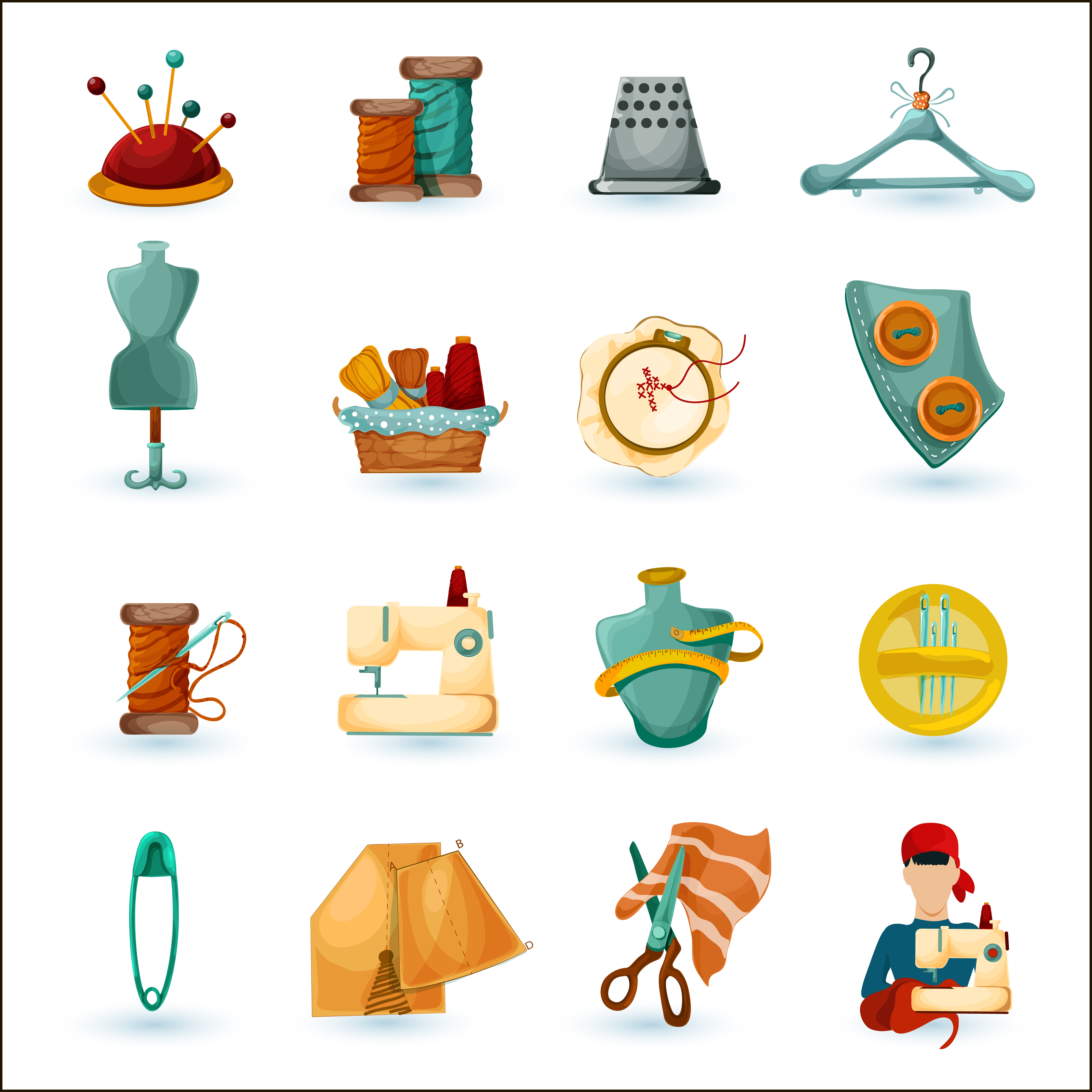 Sewing Icons Set Download Free Vectors Clipart Graphics
