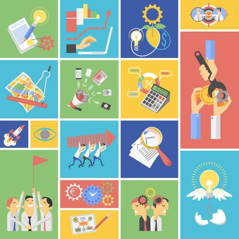 Business teamwork koncept platt ikoner uppsättning