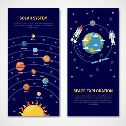 Sistema solar y banners de exploración espacial.