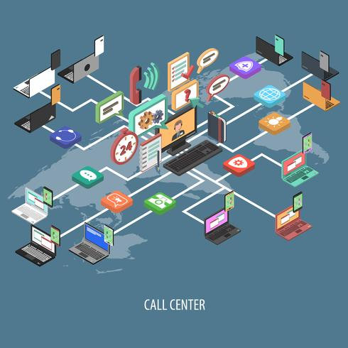 Support Call Center Concept vector