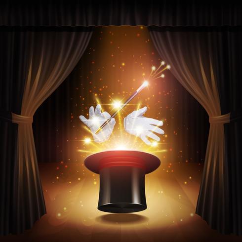 Fundo de truque de mágica vetor