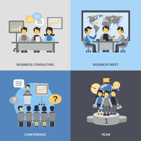 Set de reuniones planas vector