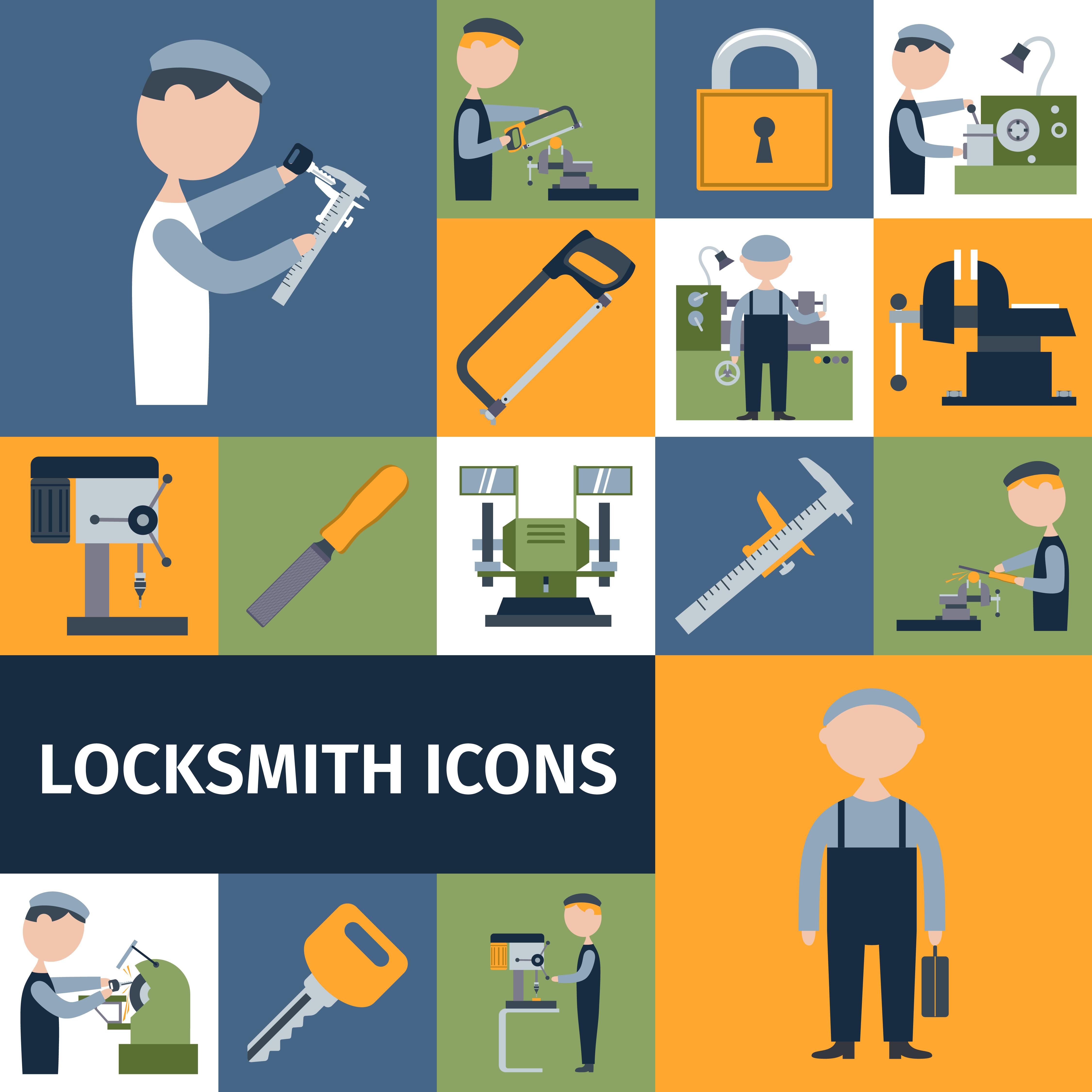 Locksmith Icons Set Download Free Vectors Clipart