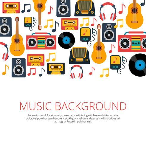 Fundo de símbolos retrô de música