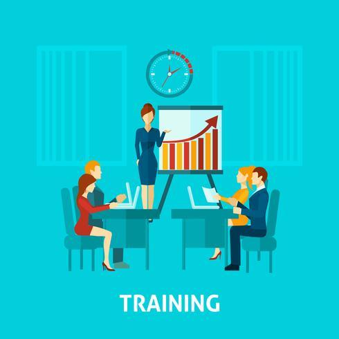 Icono plano de formación empresarial vector