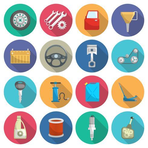 Conjunto de iconos plana de mantenimiento de servicio de coche