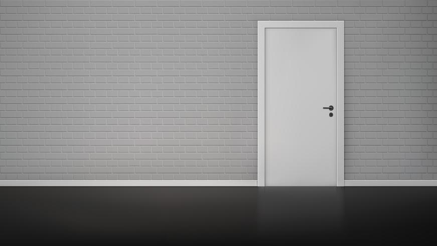 Tegelvägg med dörr