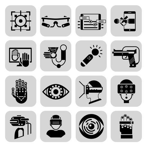 Icone di realtà virtuale aumentata nere