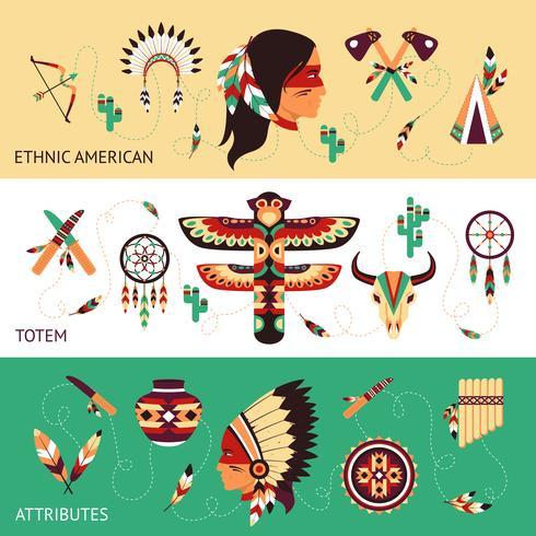 Banners de concepto de diseño étnico