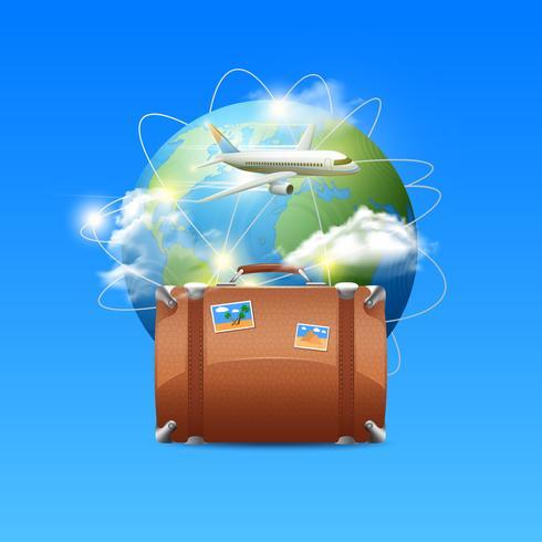 Flugzeug mit Kugel und Koffer