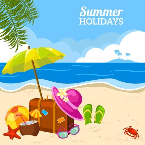 Vista à beira-mar de verão no cartaz da praia vetor