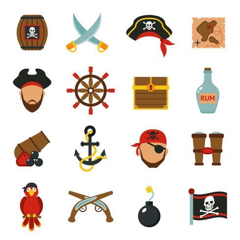 Conjunto de ícones de pirata plana vetor