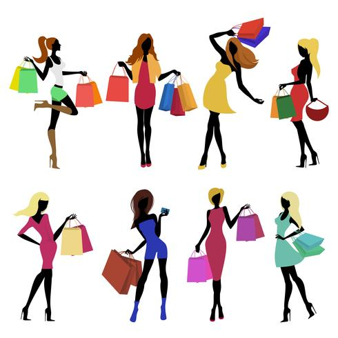 Shopping girl silhouettes