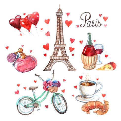 Composição de ícones aquarela de símbolos de Paris