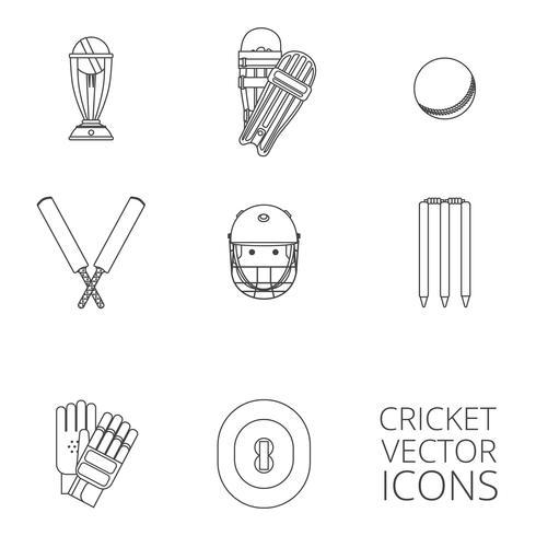 Conjunto de iconos de Cricket contorno negro vector