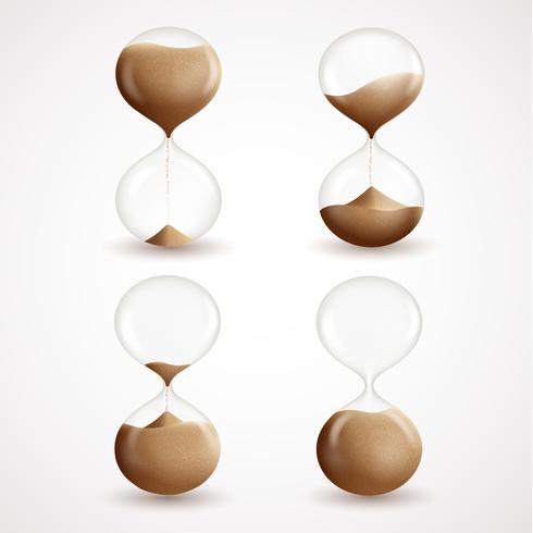 Hourglass dekorativa ikoner uppsättning vektor