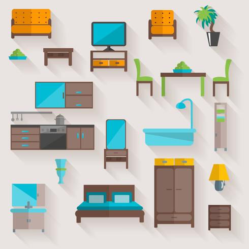 Furniture home flat icons set