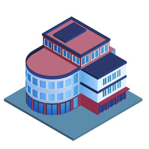 Edificio de oficinas isometrico vector
