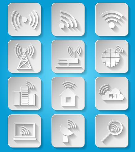 Jeu d'icônes de réseau de communication sans fil