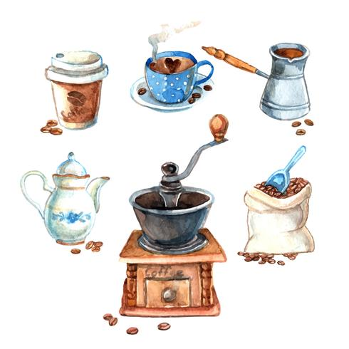 Hand drawn vintage watercolor coffee set?